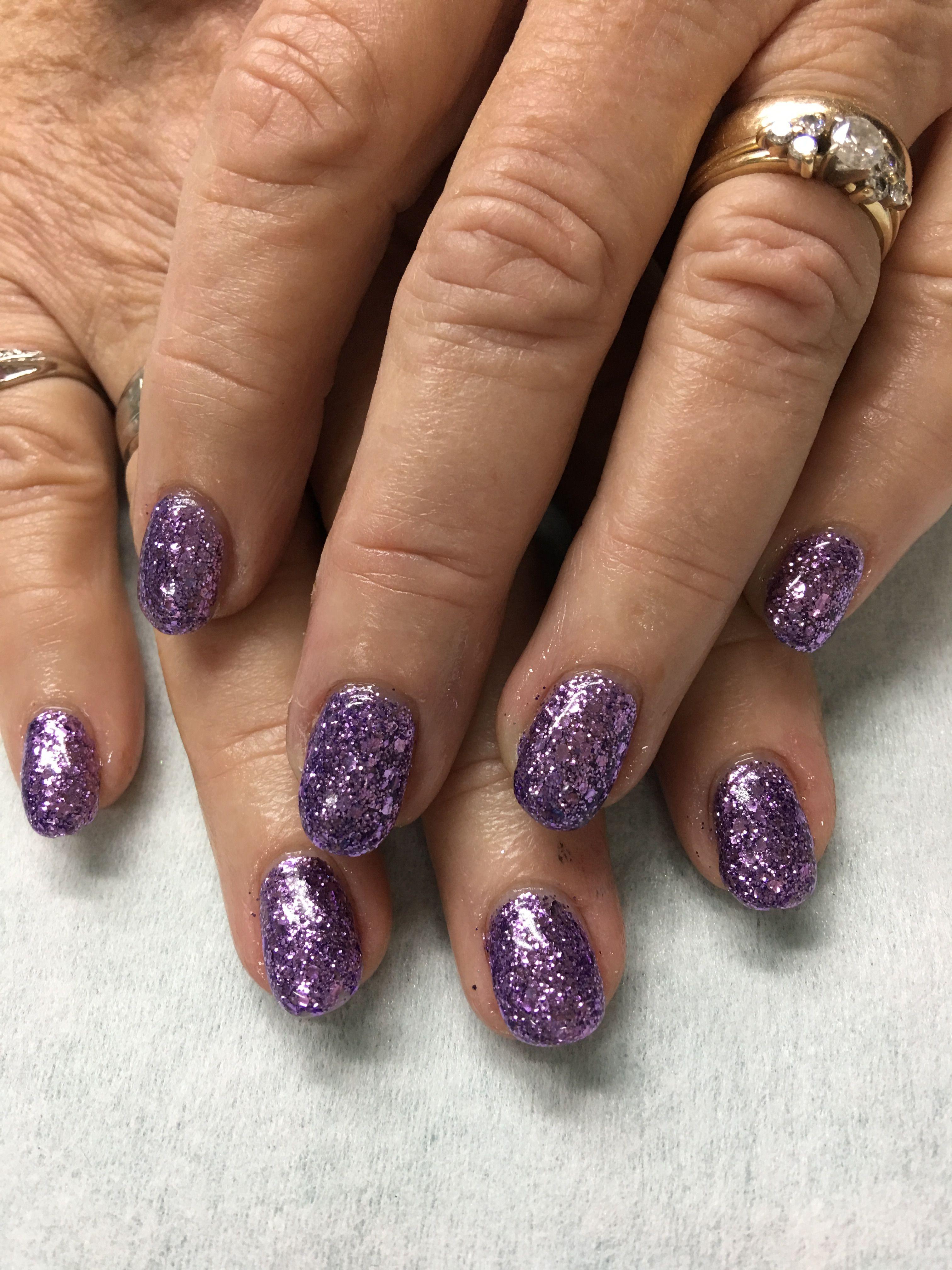 Purple Glitter gel nails | Gel Nail designs | Pinterest