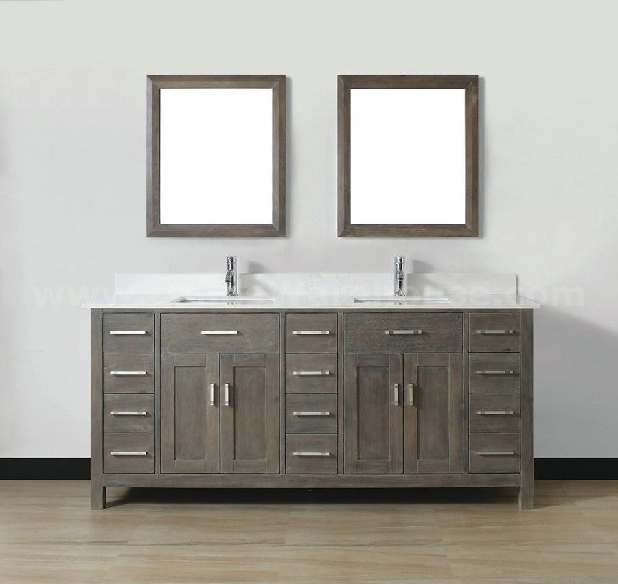 Gray vanity white sink bathroom vanities vanities for Double basin bathroom sinks