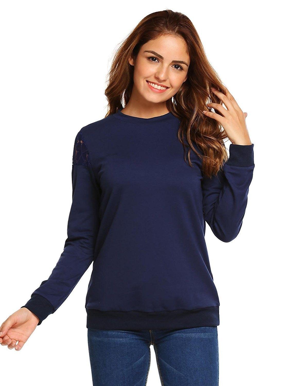 d70a60806fa Women's Clothing, Hoodies & Sweatshirts, Women Casual Long Sleeve  Lightweight Plain Crewneck Sweatshirt Pullover - Navy Blue - CX185NA6476 # women #fashion ...