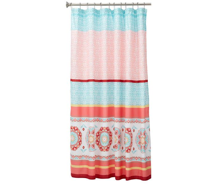 Living Colors Neema Turquoise Coral Medallion Microfiber Shower