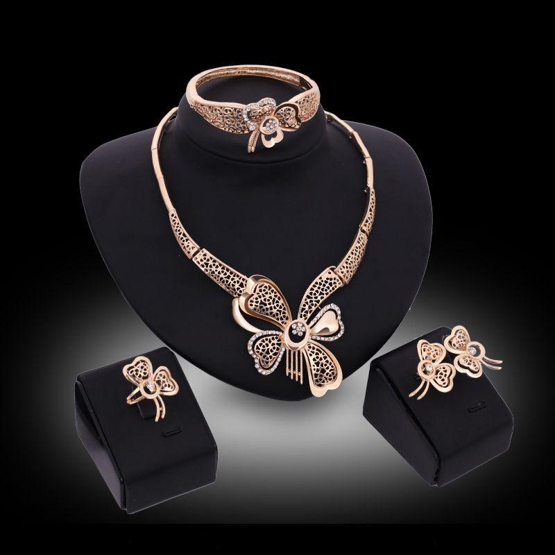 2017 Women\'s Girl\'s Jewelry Sets Gold Butterfly Shape Austrian ...