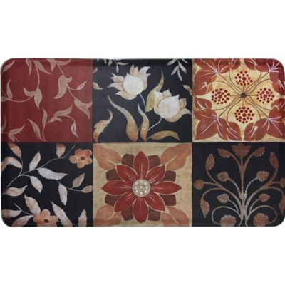 Comfort Pro 39 Inch x 24 Inch Red Medallion Anti Fatigue Kitchen Mat