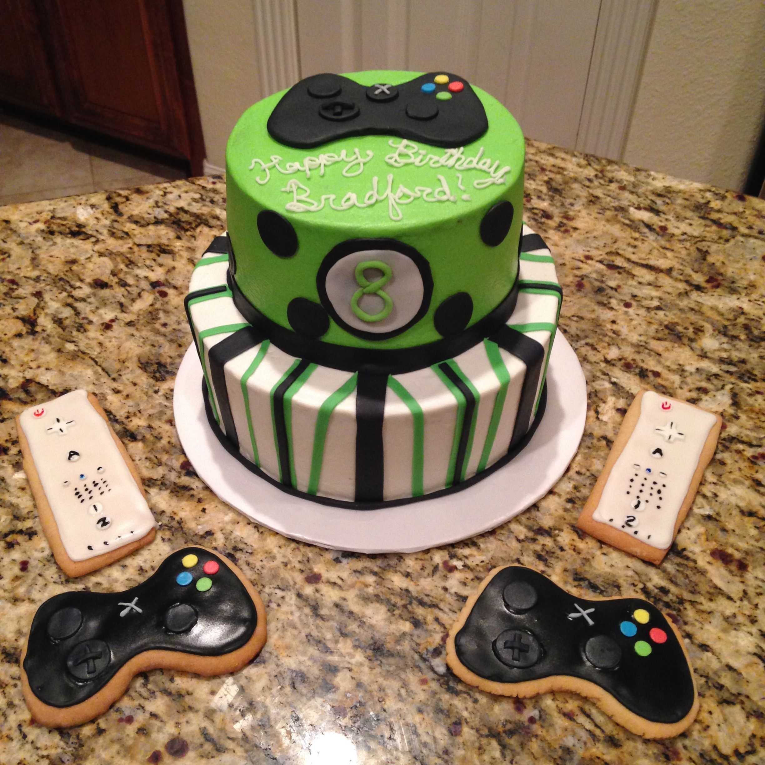 XBox and Wii chocolate cake with raspberry filling and
