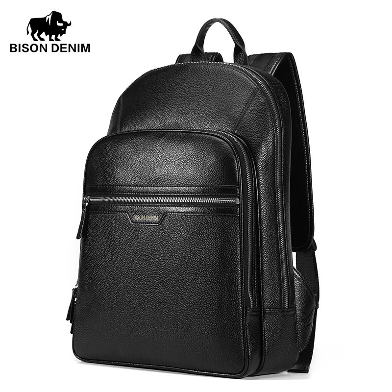 BISON DENIM High Quality Genuine Leather Large Backpacks Mens ...