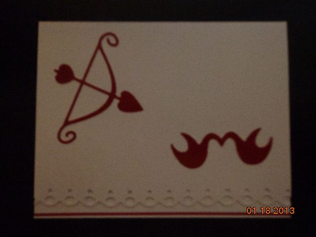 White card with Bow & Arrow and Love Birds
