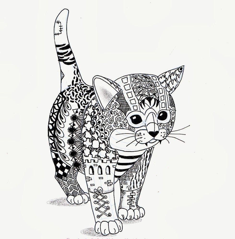 Efie Goes Zentangle Kitten Van Ben Kwok Dingen Om Te Tekenen Kattenkunst Dieren Kleurplaten
