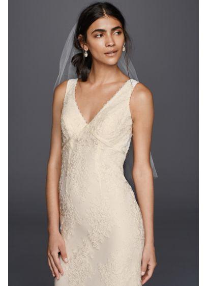 b8ab0e007e Flower Lace V-Neck Wedding Dress with Empire Waist KP3783   Bridal ...