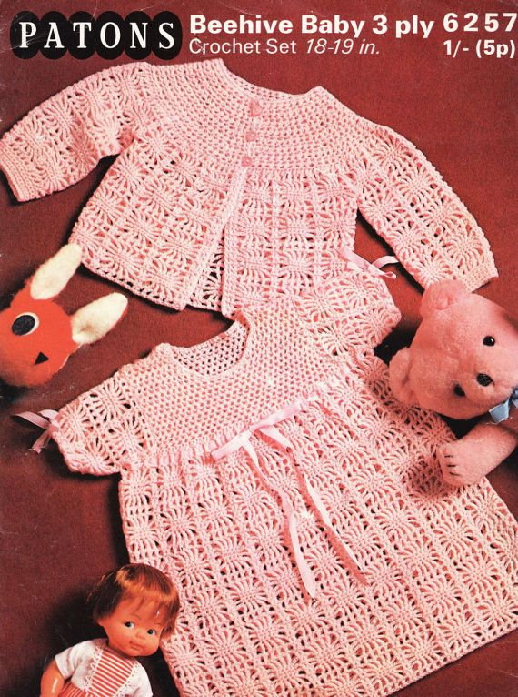 Baby Crochet Pattern - Baby Dress and Jacket Matinee - 3 ply 18- 19 ...