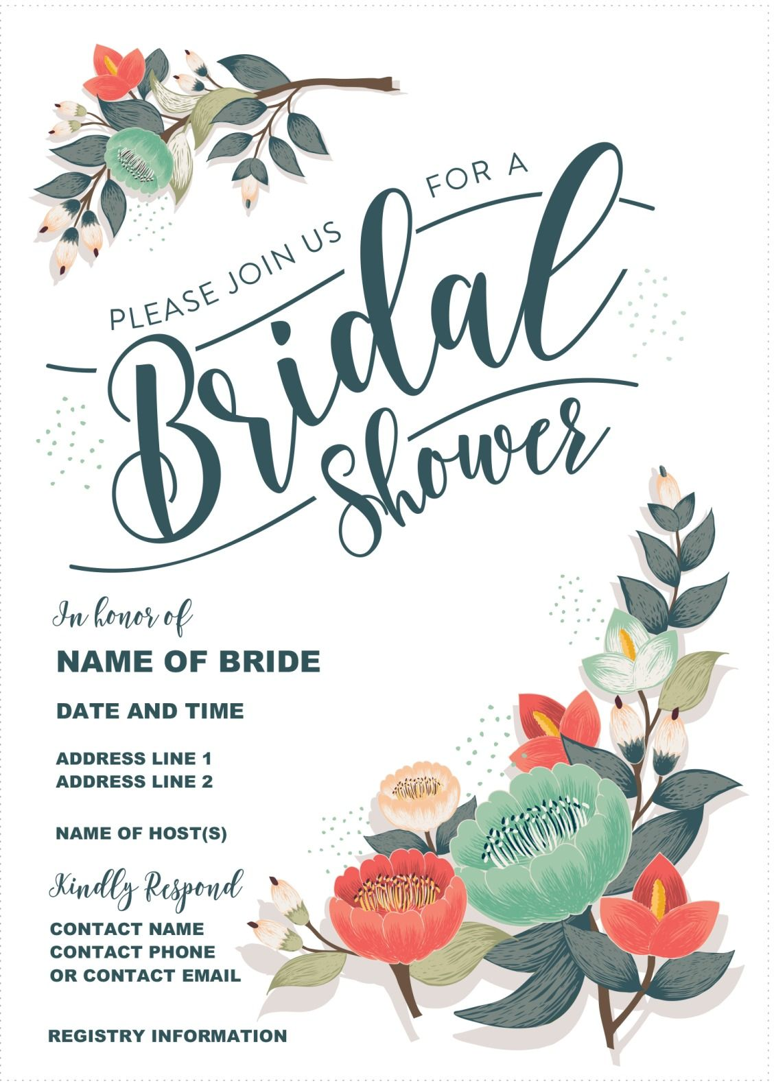 Bright image in free printable wedding shower invitations