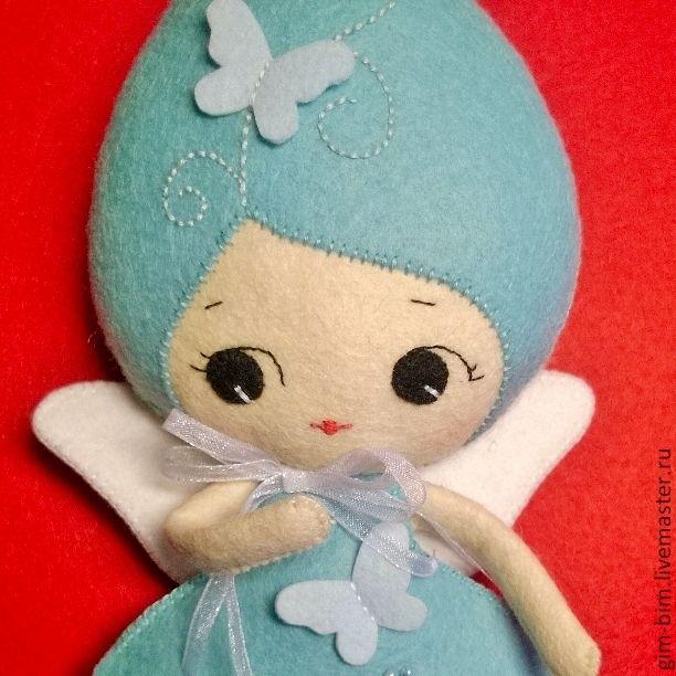 """Купить """"Blue fairy"""" - голубой, фея, фея домашнего уюта, ангел, ангелочек, кукла из фетра"""