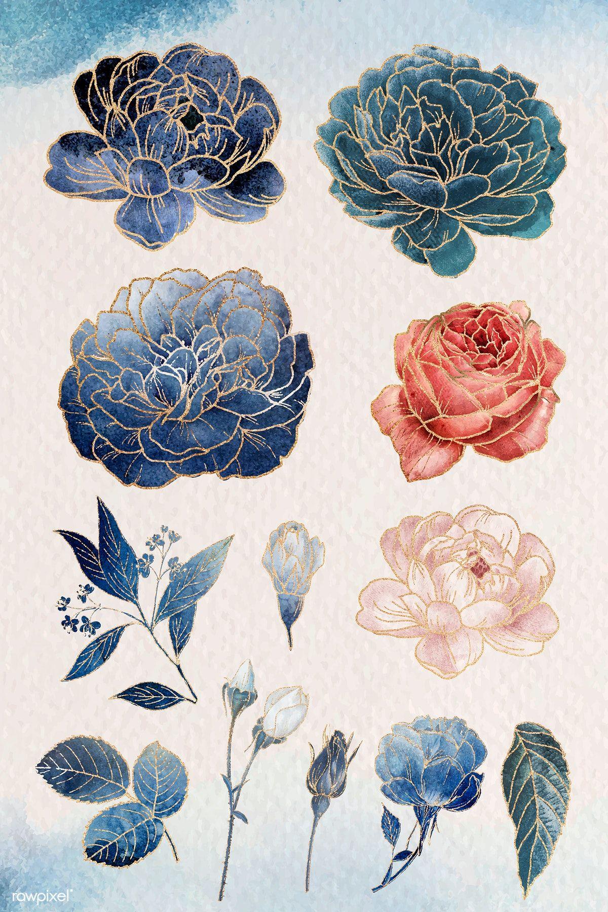 Photo of Download premium vector of Golden flower ornament vector set 1211912