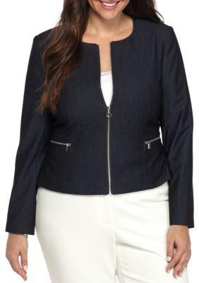 Calvin Klein Indigo Plus Size Zip Front Denim Jacket