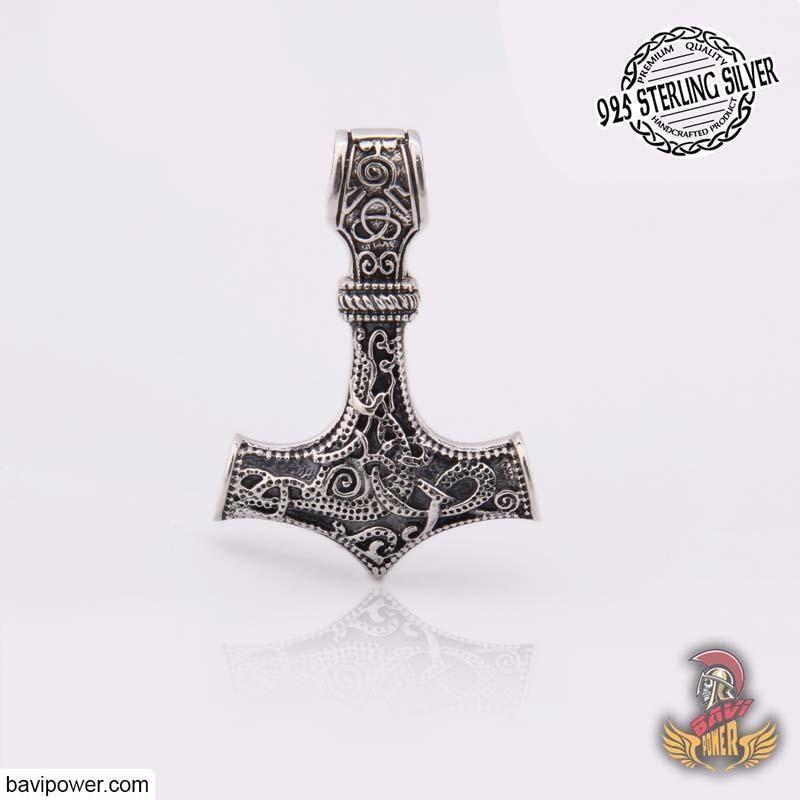 Solid 925 Sterling Silver Thor/'s Hammer Stud Earrings Mjolnir Viking Thor