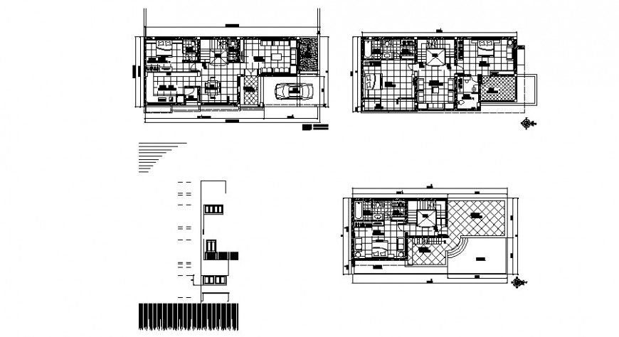 One Family Bungalow Ground First And Second Floor Plan Cad Drawing