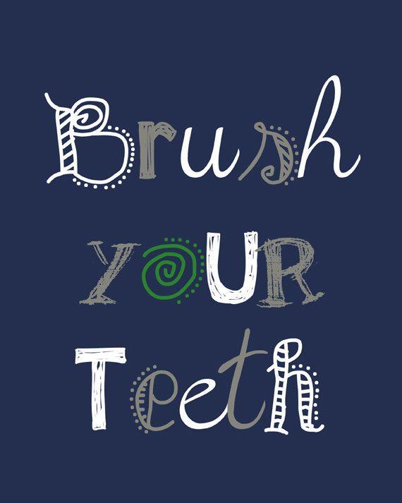 Bathroom Signs Brush Your Teeth bathroom wall art. brush your teeth. bathroom sign. wash your