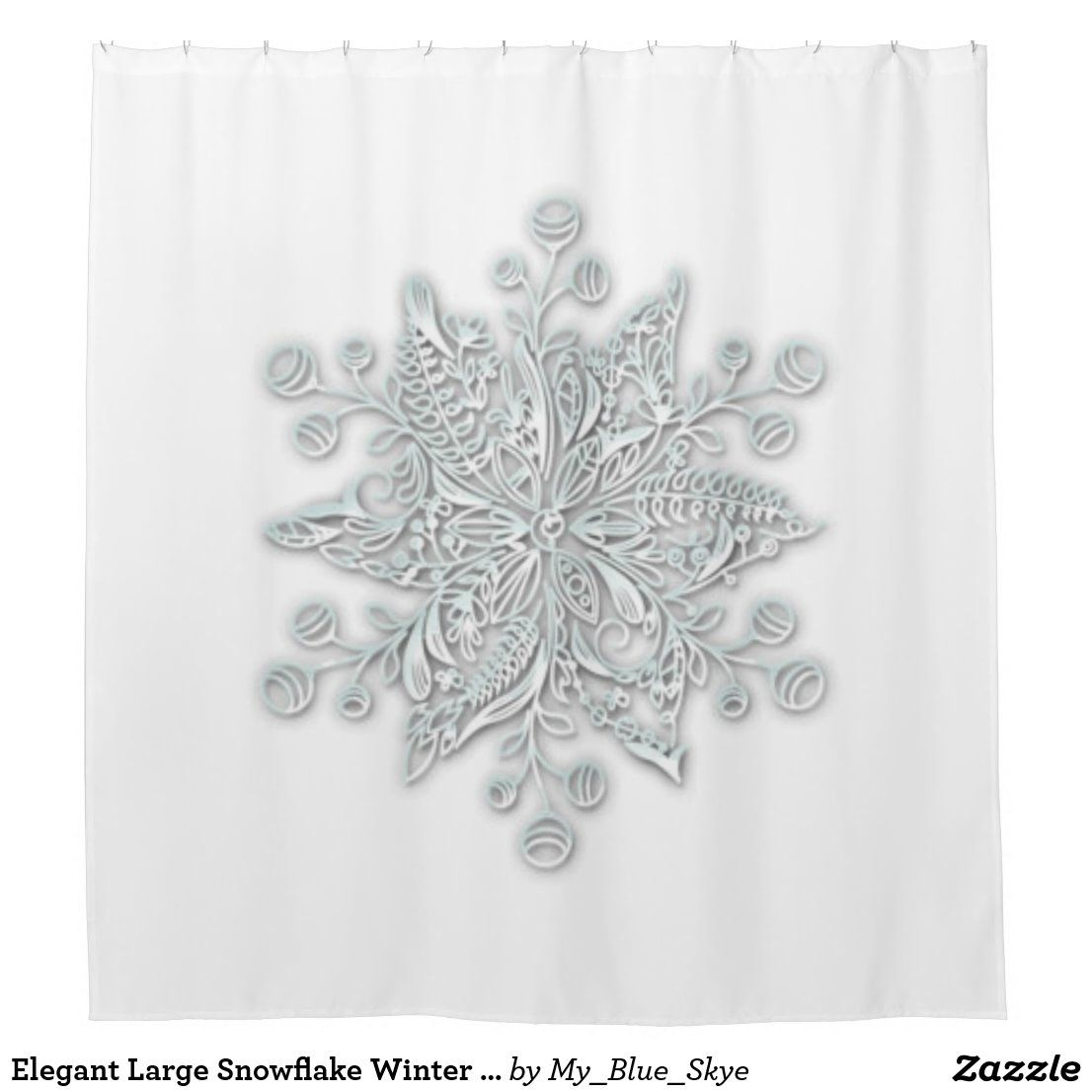 Elegant Large Snowflake Winter Shower Curtain Zazzle Com