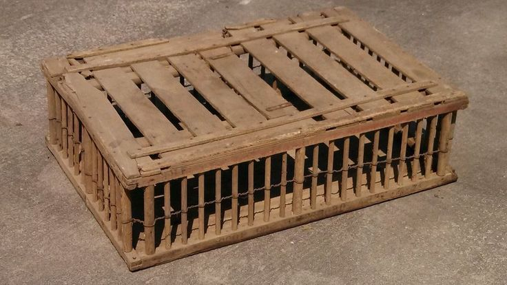 Vintage wooden chicken coop poultry transport cage farm VGC