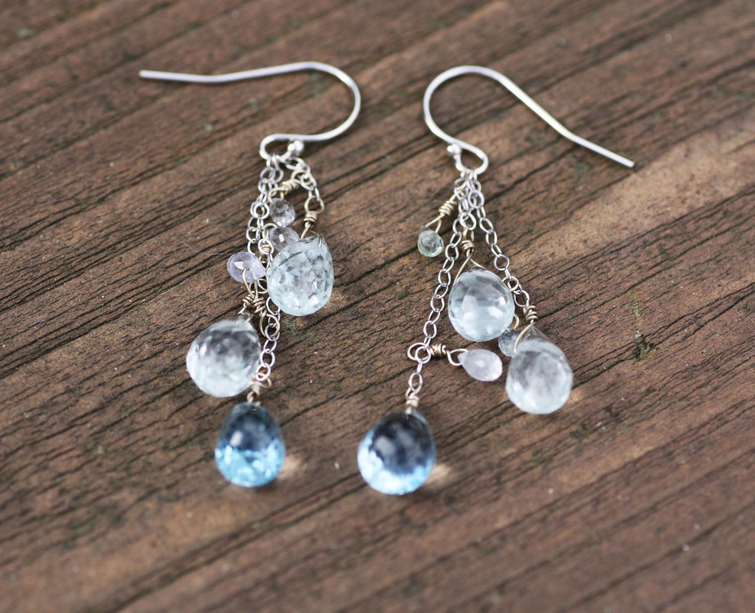 Natural Aquamarine And Blue Topaz Earrings In Solid 14k White Gold 4th 19th Anniversary Healing Gems From Canada March Birthstone