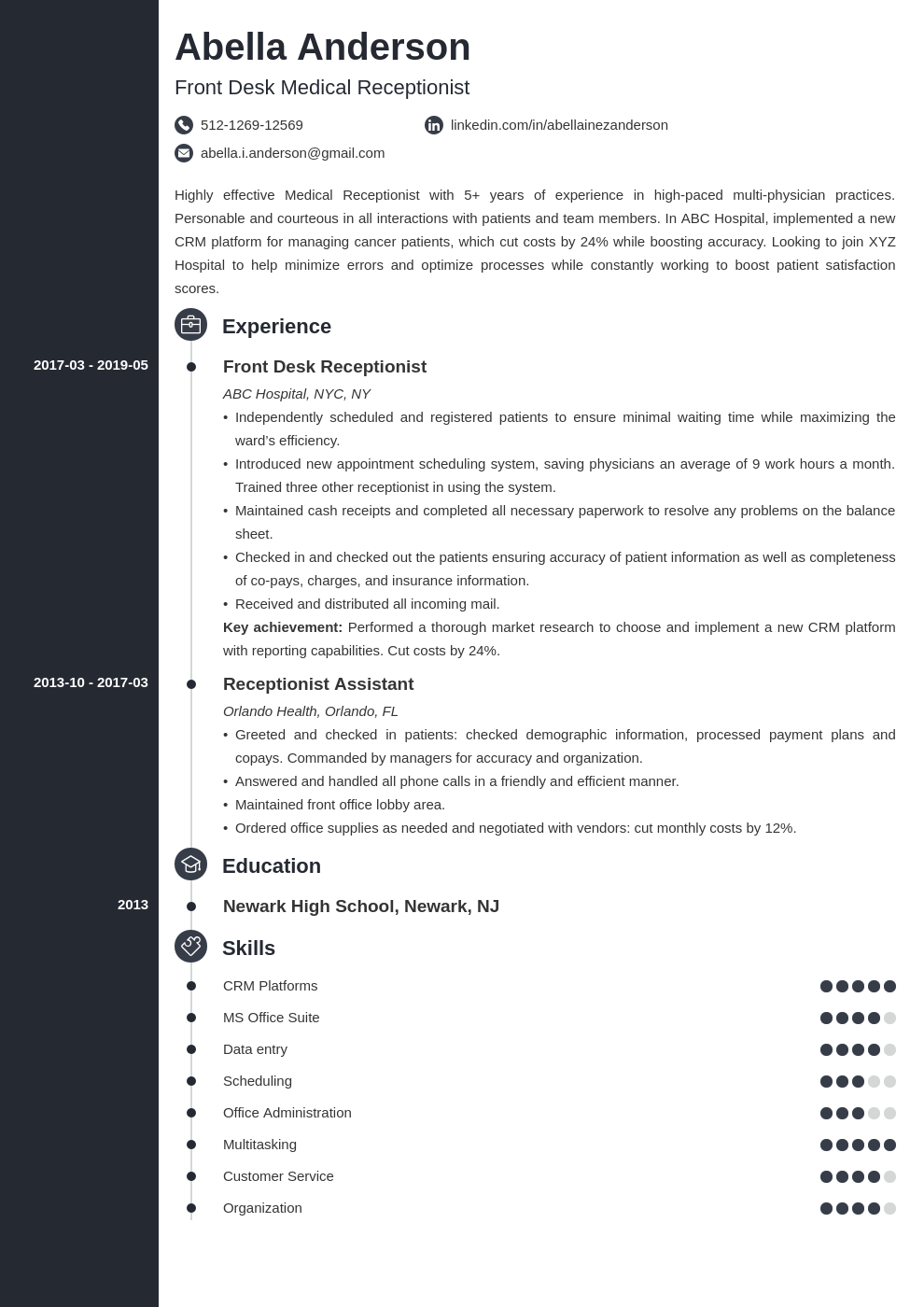 medical receptionist resume example template concept in