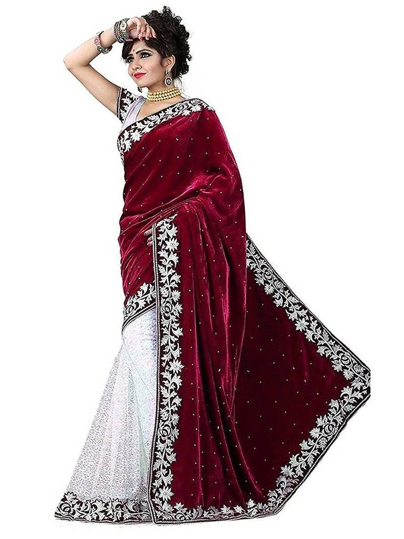 5439a3a819 Maroon Colored Embroidered Velvet Saree With Blouse, Designer Border And  Designer Pallu.