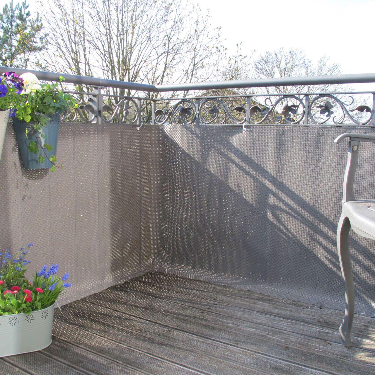 Balkonverkleidung Kunststoffgeflecht Titangrau