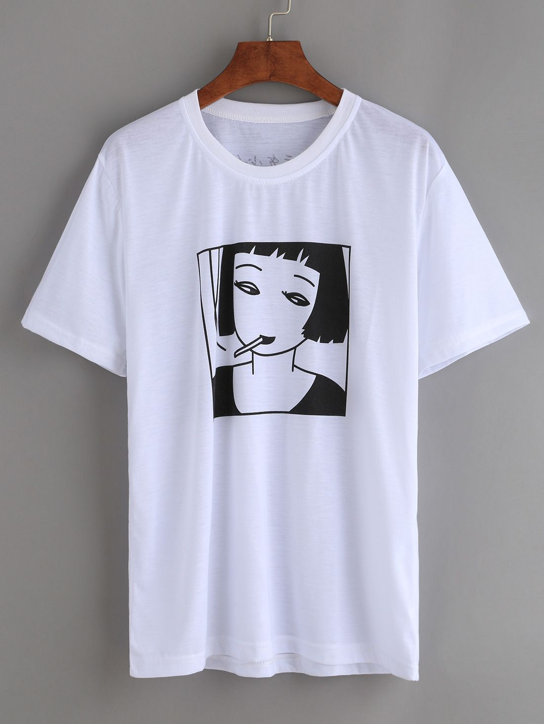 1ae89b59b Shop White Smoking Girl Print T-shirt online. SheIn offers White Smoking  Girl Print T-shirt & more to fit your fashionable needs.