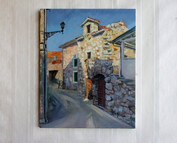 Oil Painting Old Street Original Art Landscape Old Town Beige Blue Art Stone House Art Patio Mediter Blue Art Oil Painting Painting