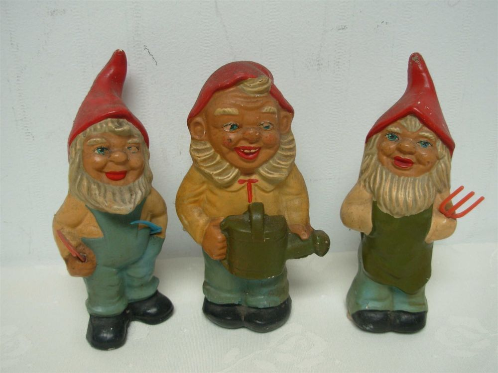 3 Vintage German Heissner Composition Garden Gnomes W Plastic Tools Watering Can Gnomes Vintage German Vintage