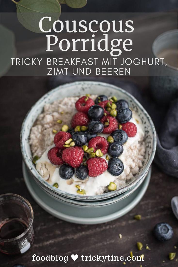 Photo of Couscous porridge with yogurt, cinnamon and berries