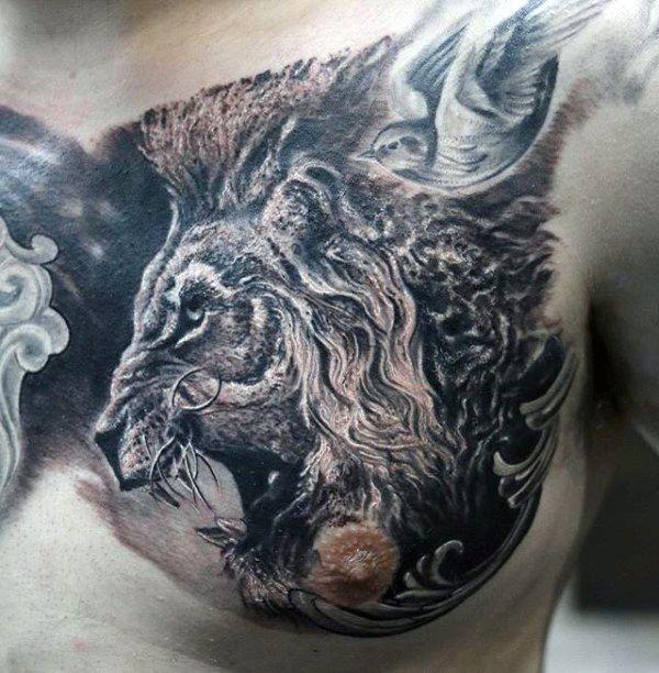 70 lion chest tattoo designs for men fierce animal ink ideas chest tattoo lion chest tattoo. Black Bedroom Furniture Sets. Home Design Ideas