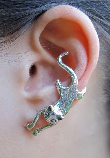 d44f07d37197 Silver Ear Cuff Cat Ear Cuff Cat Earring Cat Jewelry - Crawling Cat ...
