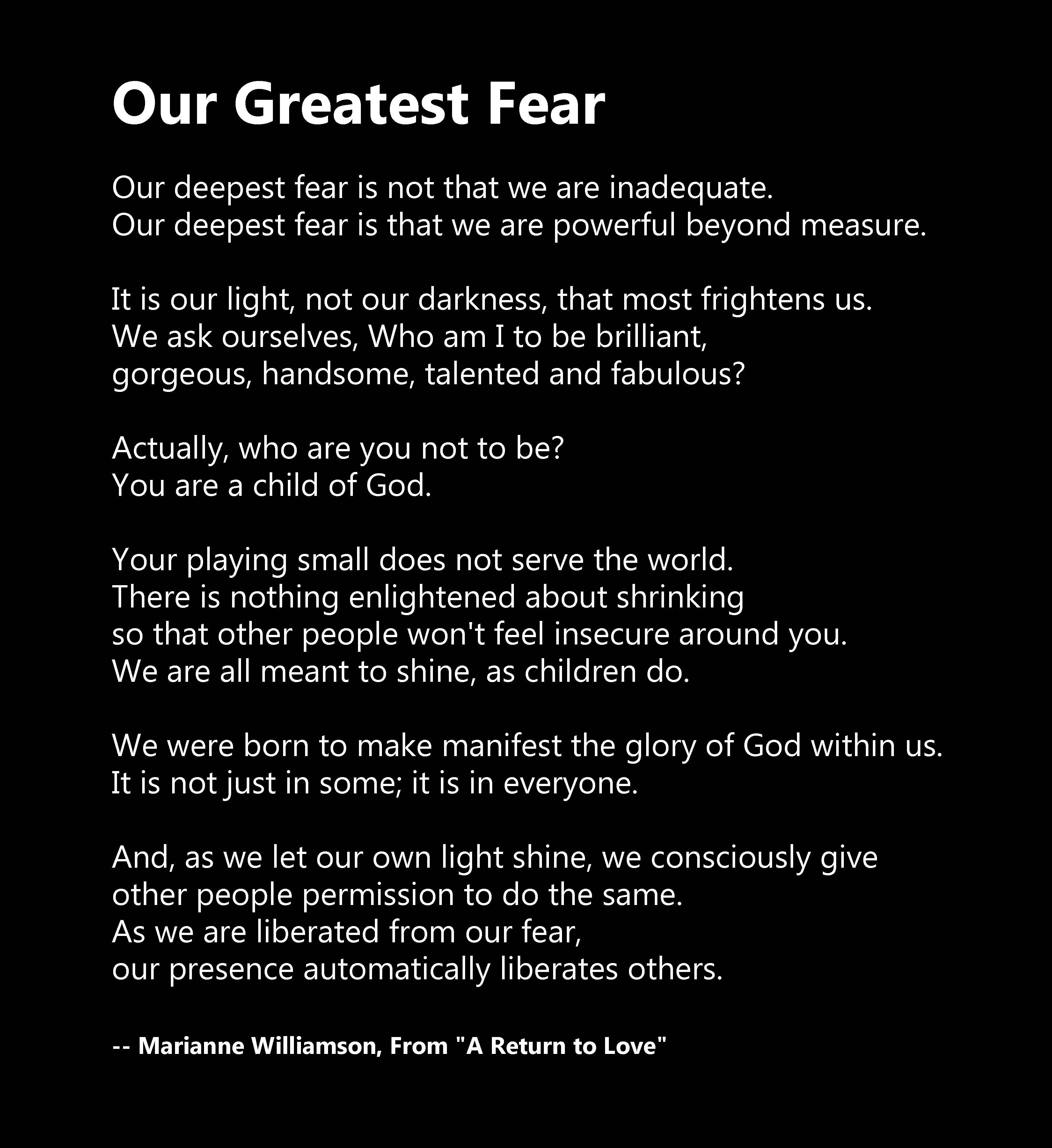 Our Greatest Fear By Marianne Williamson In The Film