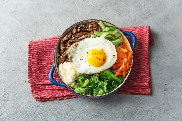 Korean Beef Bibimbap with Sesame Rice & Garlic Aioli