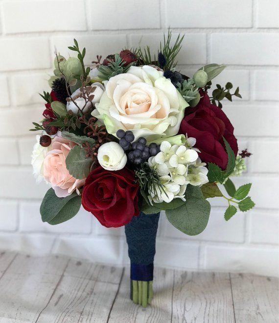 Wedding Bouquets Without Flowers: Wedding Bouquet,Bridal Bouquet,Burgundy & Navy Bouquet