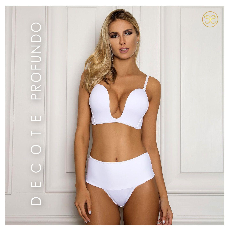 451705bf2ff90 Embelleze Moda Intima e Moda Praia - Tendência Feminina - SUTIA VESTIDO -  DECOTE PROFUNDO BRANCO