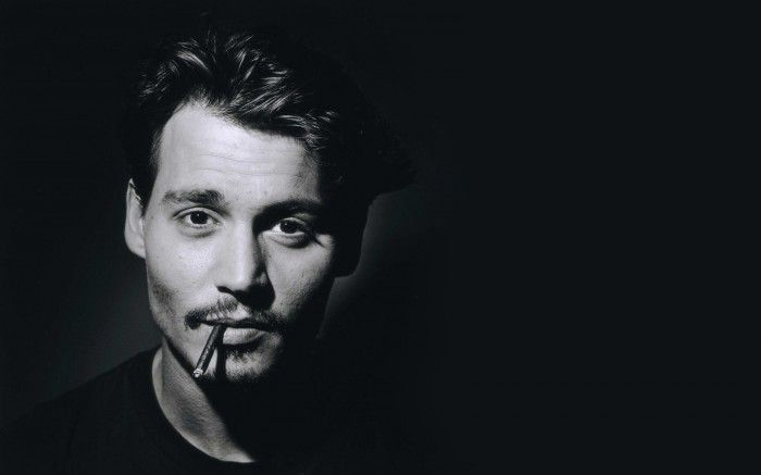 Male actor johnny depp black and white portrait photography
