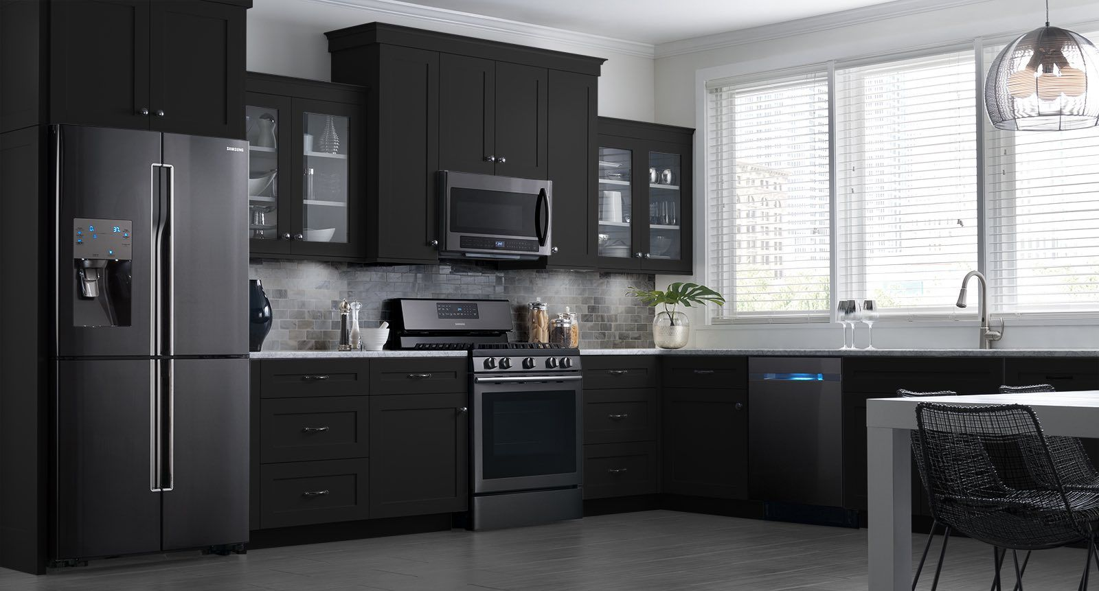 these samsung black stainless steel appliances look beautiful in my dream kitchen get inspir on kitchen remodel appliances id=51027
