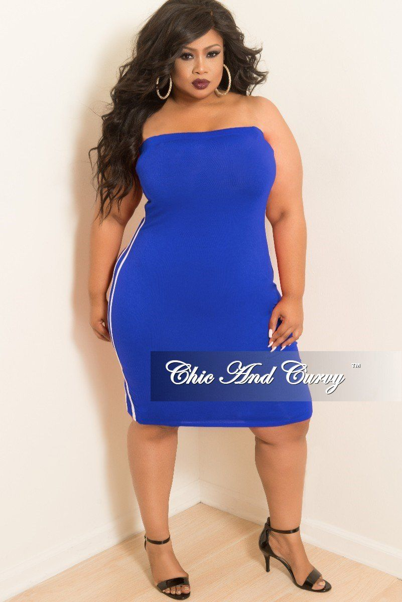 a15024176cb Plus Size Tube Dress with White Trim in Royal Blue – Chic And Curvy