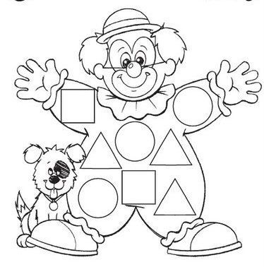 Coloriage Clown Ca.Clown Shape Worksheet Crafts And Worksheets For Preschool Toddler