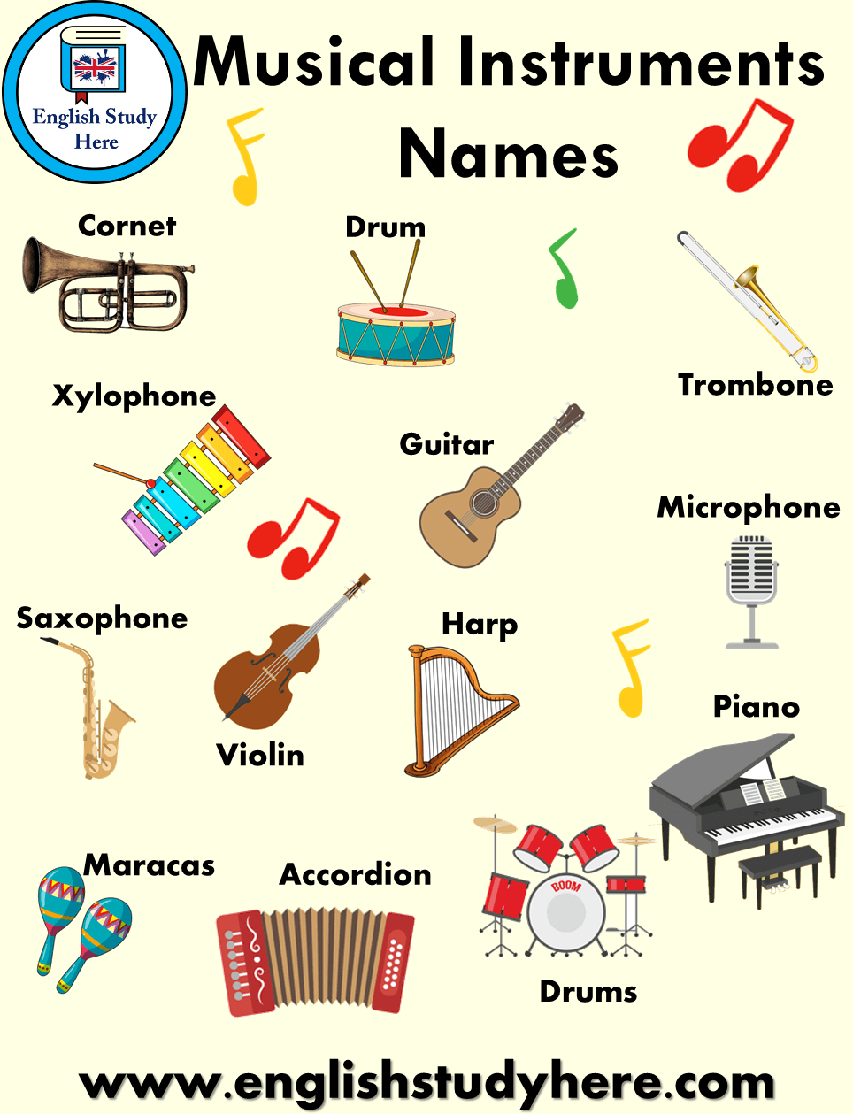 Musical Instruments Names And Pictures English Study Here English Study Music Vocabulary English Lessons For Kids