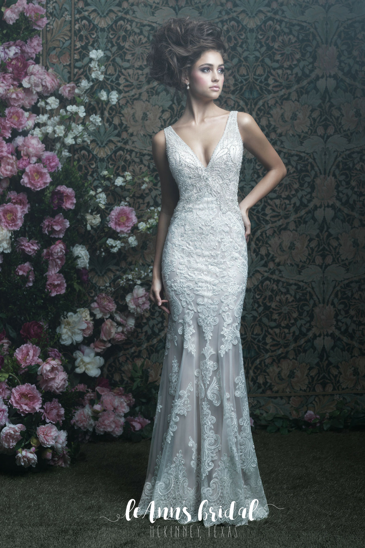 Allure Couture C408 - A silky slip dress is topped with elegant lace ...