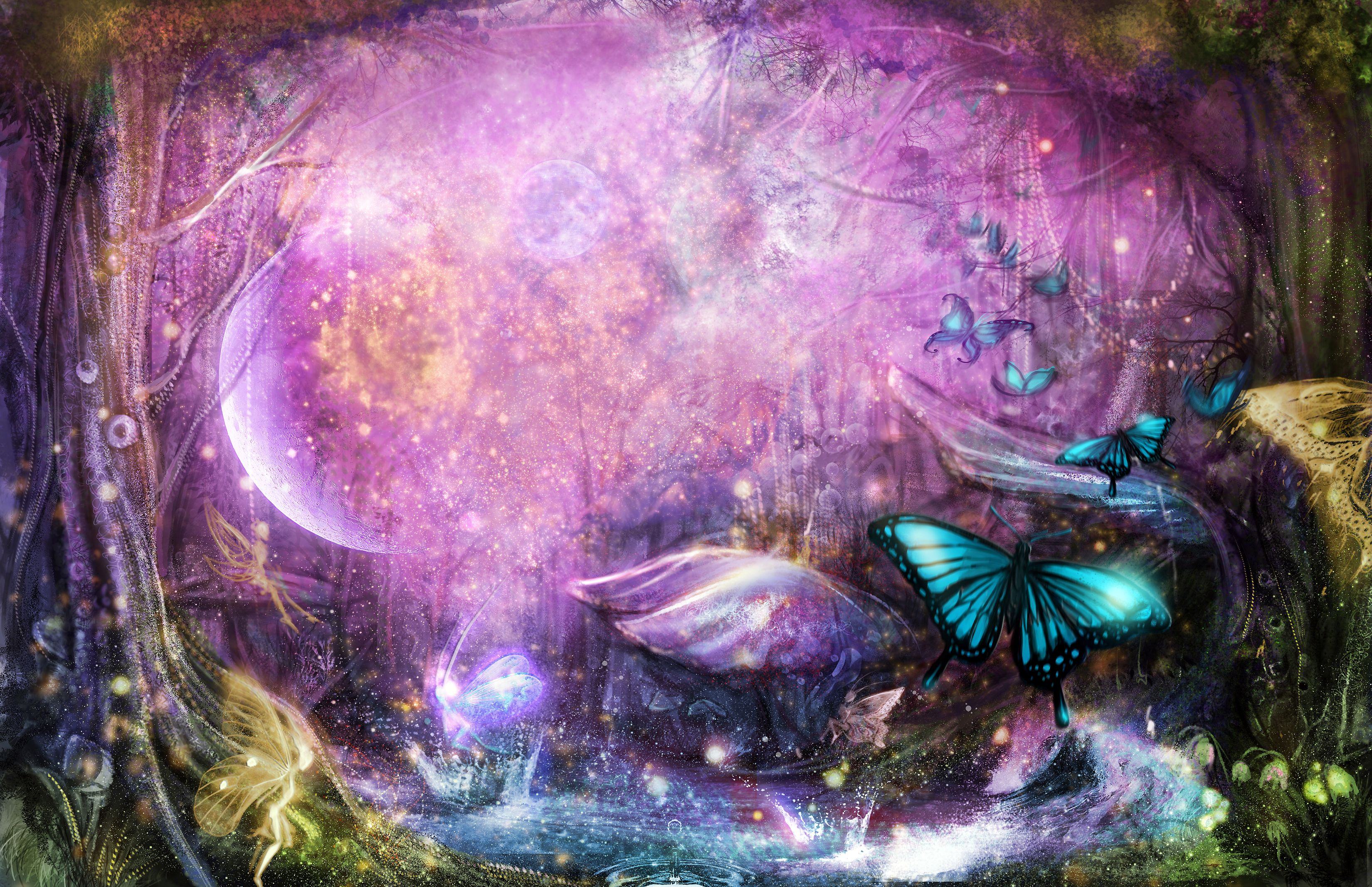 Enchanted Fairy Forest By Sangrde On Deviantart Fairy Wallpaper Fairy Background Posters Art Prints