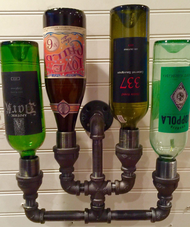 Man Cave Liquor Decor : Wine rack liquor bottle constructed of industrial