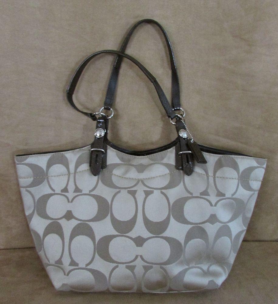 d3975c94cd Coach khaki Sateen Signature Tote shoulder bag 3 interior purse F16175  jacquard  Coach  ShoulderBag