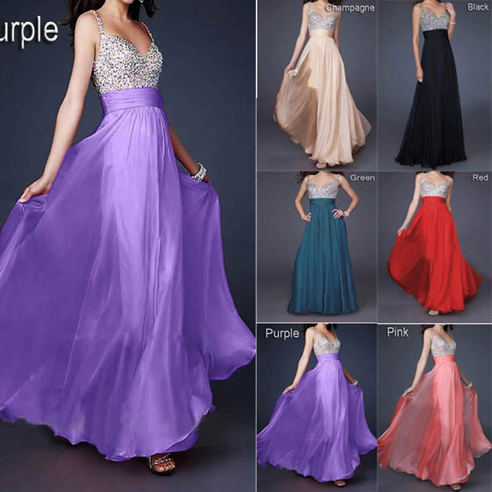 UK Stock Long Chiffon Bead Evening Formal Party Ball Gown Prom ...