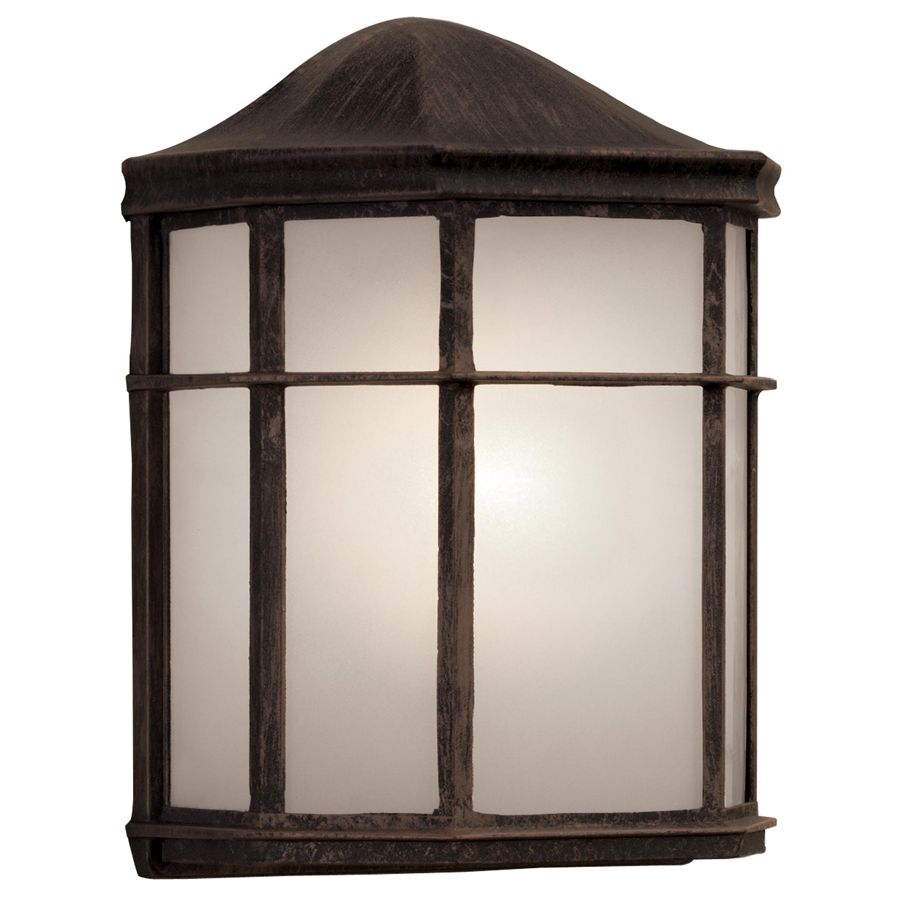 Lowes Garage Shop Lights: Shop Portfolio 9.61-in H Rust Outdoor Wall Light At Lowes
