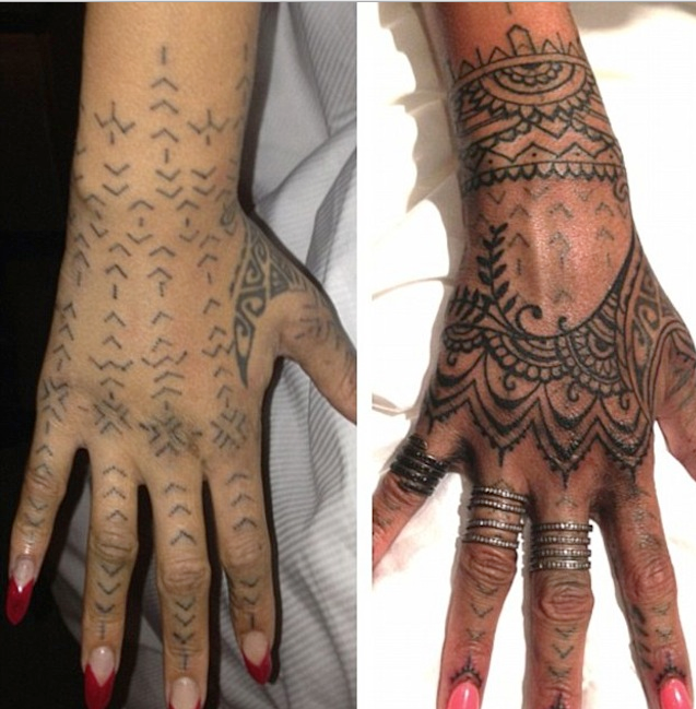 Rihanna Gets Some Henna Art Tattoo On Her Hand R Celebs Hand Tattoos Rihanna Hand Tattoo Tribal Hand Tattoos