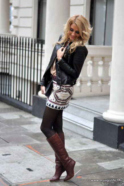 Sparkly Skirt With Tights Boots Amp Leather Jacket Style