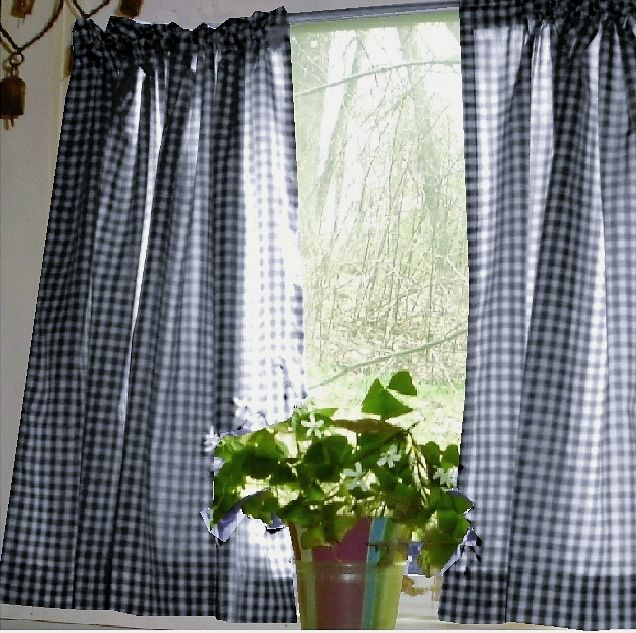Navy Blue Gingham Kitchen Cafe Curtain Unlined Or With White Or Blackout Lining In Many Custom Lengths With Images Gingham Curtains Cafe Curtains White Cafe