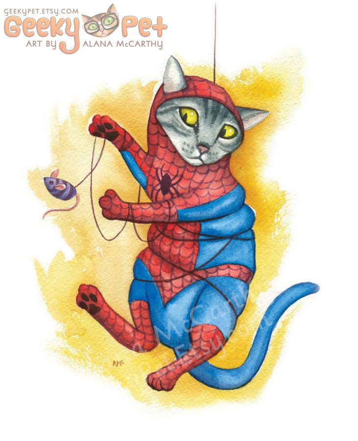 "#Spidey Cat - Watercolor 8x10"" print of a cat as #Spider-Man #tangled in his,  View more on the LINK: 	http://www.zeppy.io/product/gb/3/253808407/"